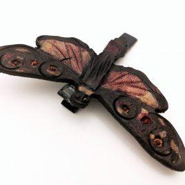 Haarspange Haarclip Falter Insekt Schmetterling Zygaena Occitanica Motte Echtleder