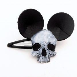 Haarspange Haarclip Mauseohren Totenkopf Mausschädel Mausskull Skull Ohren Mauseohren Mickey