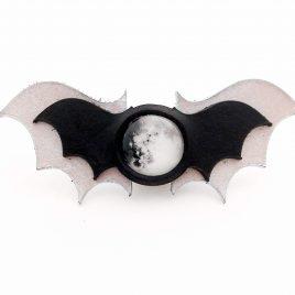 Haarspange Haarclip Mond Fledermaus Moondance Bat Moon schwarz silber
