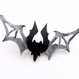 Haarspange Haarclip Laser Fledermaus Bat Nachtschwärmer schwarz silber Echtleder Durchbruch