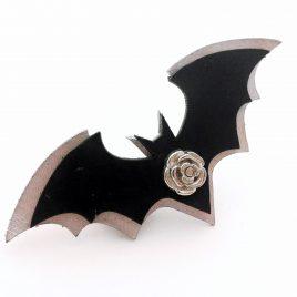 Haarspange Haarclip Fledermaus Bat Nachtschwärmer Rosenniete Rose schwarz silber Echtleder Doppeldecker