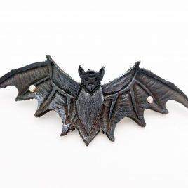 Haarspange Haarclip Fledermaus Bat Nachtschwärmer punziert schwarz silber Echtleder