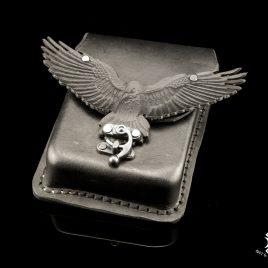 Gürteltasche Pouch Belt Bag Rabe Krähe Crow Raven UNIKAT schwarz  Echteder