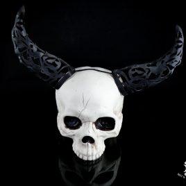 Hörner Horns Lasercut Faun Elfe Hexe Fantasy Leder schwarz mit Ornament