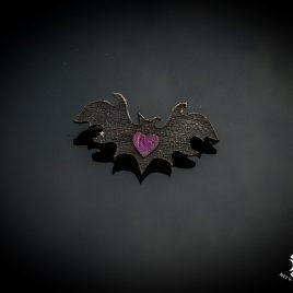 Brosche Fledermausherz Ein herz für Fledermäuse Fledermausliebe Anstecker