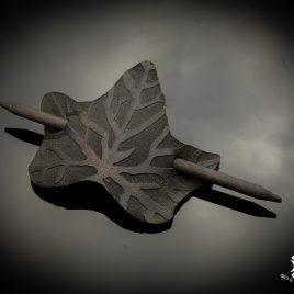 Haarspange Haarstab mit Efeu Ivory Stabhaarspange Blatt Blattadern Leaf schwarz Echtleder