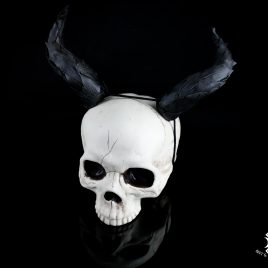 Hörner Horns Devil Faun Fantasy Leder schwarz  Maleficent Kostüm schwarz