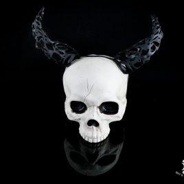 Hörner Horns Lasercut Faun Elfe Hexe Fantasy Leder schwarz mit Ornament Crippled klein