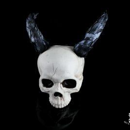 Hörner Horns Devil Faun Fantasy Leder schwarz silber Gehörnter Satan 2 Varianten