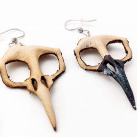 Ohrring Vogelschädel Schädel Rabe Rabenschädel natur geformt