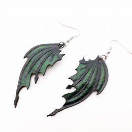 Flügelohrring Ohrhaken Ohrring Drachenflügel grün rot lila