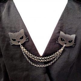 Kragenkette Cardigan- Brosche Katzenkopf Cat