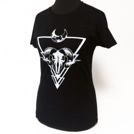 Damenshirt schwarz Girlie Shirt Höllenmond handgedruckt