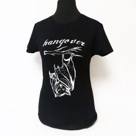 Damenshirt schwarz Girlie Shirt Hangover Fledermaus handgedruckt