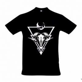 Herrenshirt schwarz Höllenmond Siebdruck