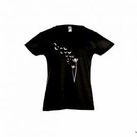 Kindershirt schwarz Fledermaus Pusteblume Siebdruck
