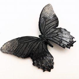 Haarspange Haarclip Schmetterling schwarz silber Glitter Glitzer Schimmereffekt