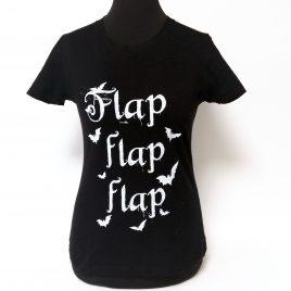 Damenshirt schwarz Girlie Flap Flap Flap Fledermaus