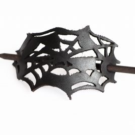 Stabhaarspange Spinnennetz schwarz Echtleder