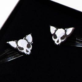 Haarspange Katzenschädel schwarz weiß