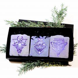 3er Set handgefertigte Seife Symbolmotive 2 Farben 3 Duftnoten