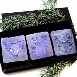 3er Set handgefertigte Seife Katzenmotive 2 Farben 3 Duftnoten