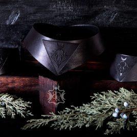 gothic Leder Halsband Birdskull