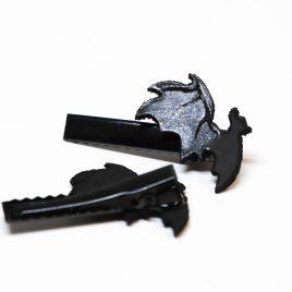 Haarspange Fledermaus schwarz silber